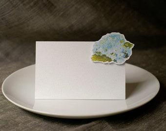 Soft Blue Hydrangea Small Tent - Place Card - Escort Card - Gift Card  - Menu card weddings events