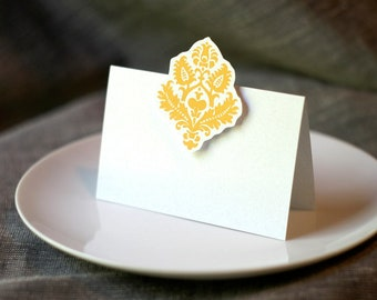 Yellow Damask Place cards, escort cards - Weddings, events, parties and holiday entertaining