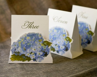 Table Number Tents-Blue Hydrangea - Decoration for Events, Weddings, Showers, Parties