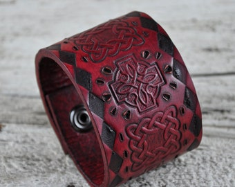 Gothic Knight Branded & Embossed Leather Cuff