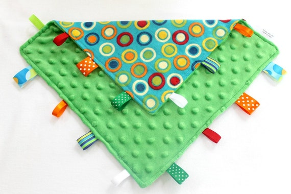 Tag Ribbon Lovey, Multi Colored Circles with Green Minky Dot