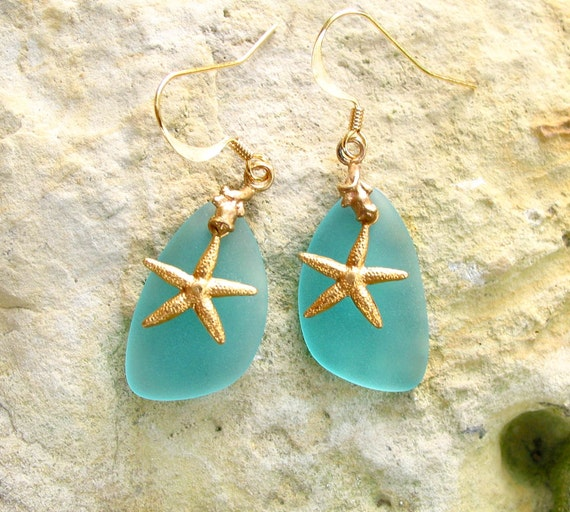 DIY kit sea beach frosted glass blue bead earrings / pendant necklace brass starfish recycled