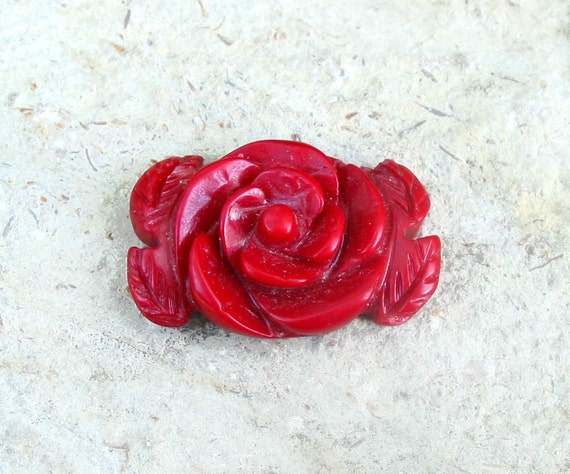 3X solid bamboo coral red rose 20mm x 30mm carved flower Beads Pendant bead top front drilled