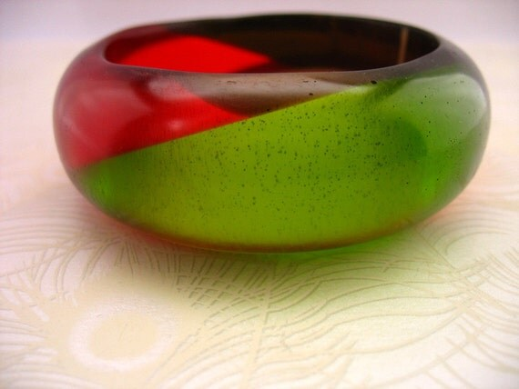 Chunky Angle Resin Bangle Bracelet Jewelry Apple Green , Scarlet Red,  Bronze Brown , Christmas Broad Harlequin Bracelet Bangle Jewellery