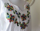 Boho Chic vintage hand embroidered blouse