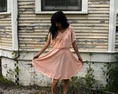 VTG 80s Peach Lace Overlay Babydoll Dress S M