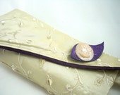 Pearl silk evening bag wristlet with plum and handmade brooch - HiGirls