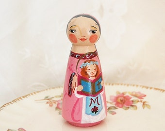 Saint Anne or Hannah Catholic Saint Doll - Wooden Toy - Made to Order