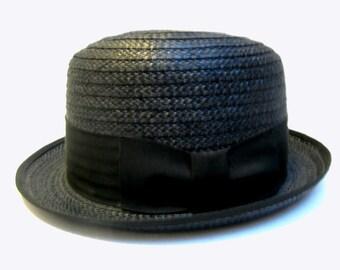 Mens 1960s Vintage Hat Black Straw Pennys Marathon Stingy Brim size 6 7/8 Small Lounge Lizard Bebop Hat