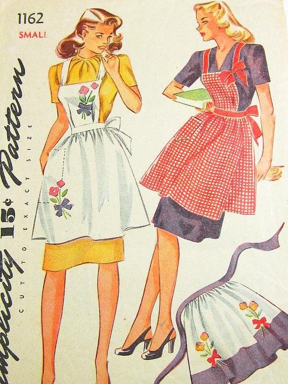 Vintage Apron Pattern Simplicity 1162 Vtg 1940's
