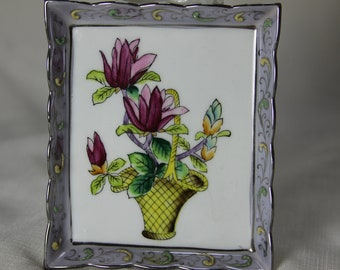 Porcelain Painted Lotus Flowers in Basket Picture Vintage Japan one piece framed