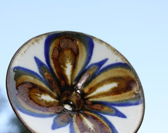 Ceramic Vintage Candleholder Butterfly Round Cream Cobalt Brown Hand Painted Candle Holder