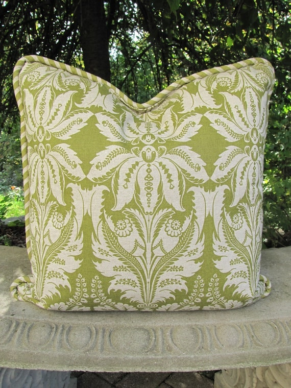 Leaf Green Floral Toss PIllow / Spring Pillow/ Corded Reversible Pillow