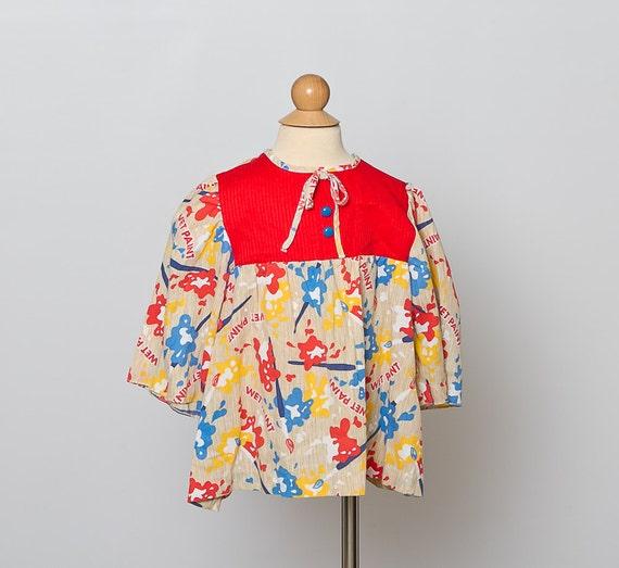vintage 1970s girls blouse/ art smock