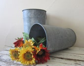 Vintage Sap Bucket - Garden container - Metal - Flower container - French Market - Country - Primitive - Shabby Cottage