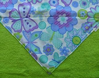 Purple sparkle flowers and butterflies - Washcloth Bib - Bandana Bib