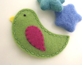 Felt hair clip -No slip -Wool felt -Bird -sage green