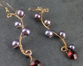 Pearl vine earrings, handmade gold filled & garnet earrings-OOAK