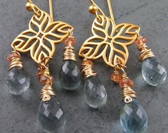 Moss aquamarine chandelier earrings, handmade orange sapphire, gold earrings-OOAK March birthstone