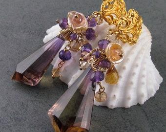 Ametrine earrings in gold, handmade imperial topaz, amethyst, pearl earrings-OOAK post earrings