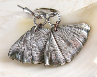 Silver gingko leaf earrings, handmade eco friendly fine silver earrings-OOAK