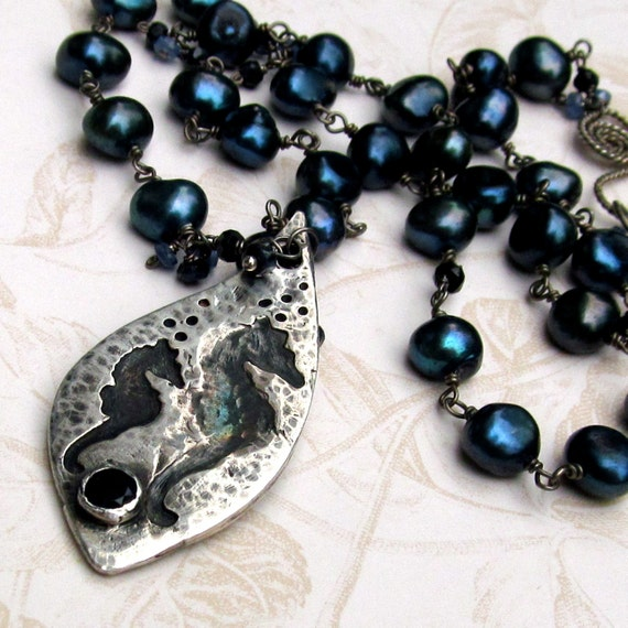 Mom and baby seahorse pendant, handmade fine silver, pearl necklace-OOAK