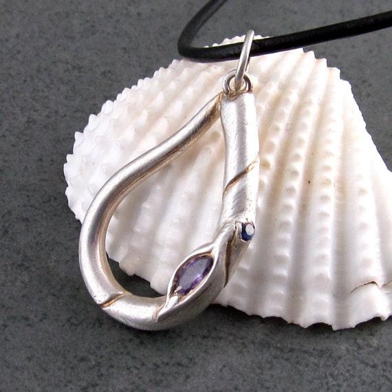 Silver raindrop pendant, amethyst cz, sapphire necklace-April Rain handmade OOAK