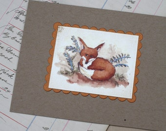Fox in the Ferns Woodland Animal on Kraft Cardstock Natural Handmade Greeting Card