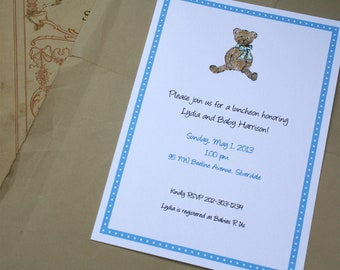 Teddy Bear Watercolor Print, Custom for Baby Shower, New Baby Announcement, Birthday Party. Customized Set of 10