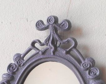 Small Home Accent Mirror in Vintage Lavender Grey Frame, Wall Collage, Affordable Gift Ideas