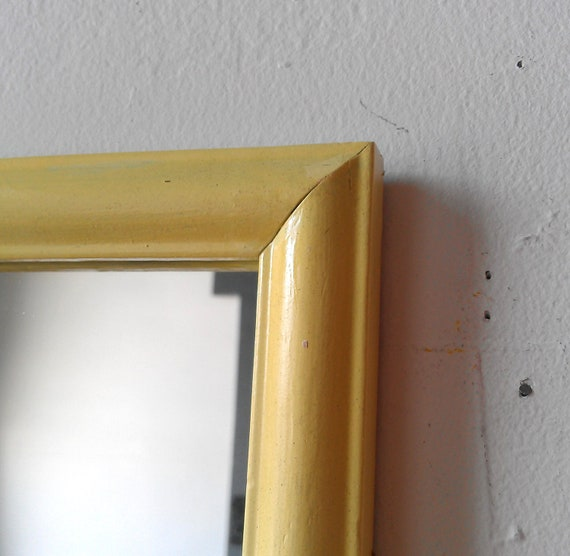 Wood Framed Accent Mirror in Pale Butter Yellow 11 by 9 inches