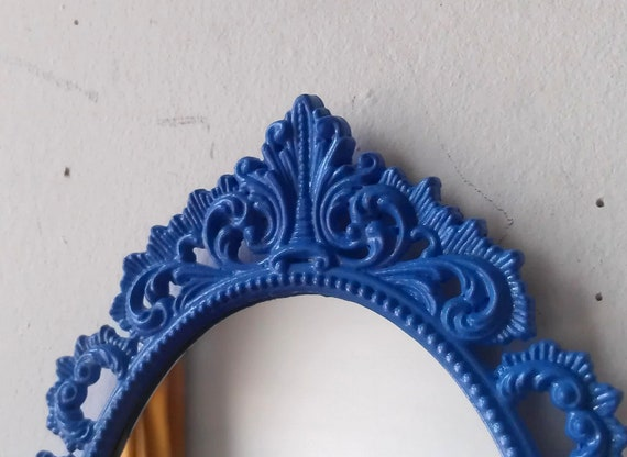 Oval Wall Mirror in Miniature Vintage Periwinkle Blue Frame