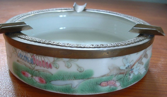 Vintage Asian Porcelain with Brass Ashtray