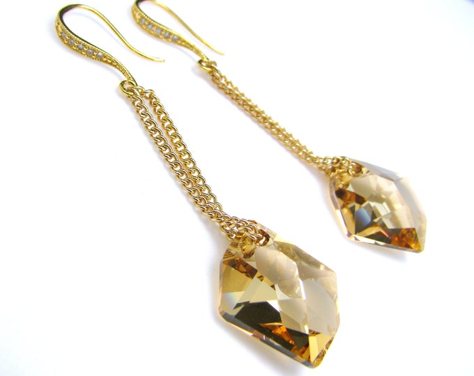Golden shadow Swarovski cosmic pendant crystal chain earrings with cubic gold hook -Free US shipping