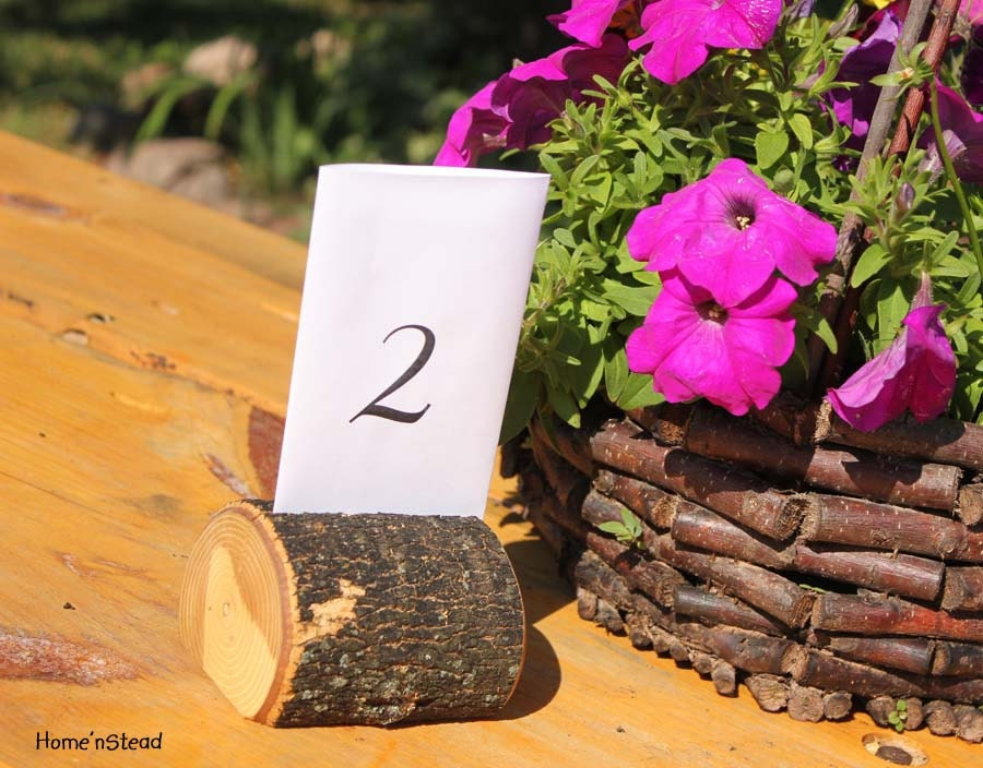 Tree Chunk Card Holders Rustic Wedding Place Setting Reserved Seating Table Number Menu Stand