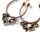 Handcrafted Hoop Earrings, Antiqued Copper Jewelry, Lacy Earrings