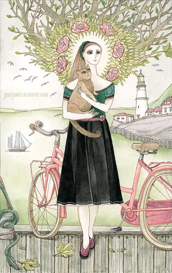 Girl and cat with pink bicycle - romantic illustration nursery decor gift for her watercolor drawing pastel print dreamy art lighthouse sea