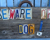 Beware of Dog Dogs Sign License Plate Wood Sign Made to Order