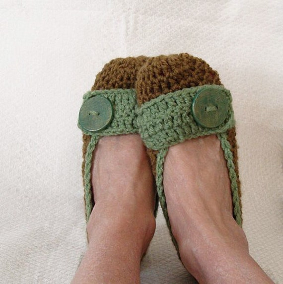 Women's Crochet Flats Slippers Brown and Olive