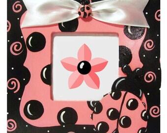 Hand Painted Pink Ladybug Frame