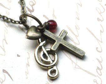 Music and Faith Necklace in Antique Bronze, Cross and Treble Clef Note Tiny Charms, Christian