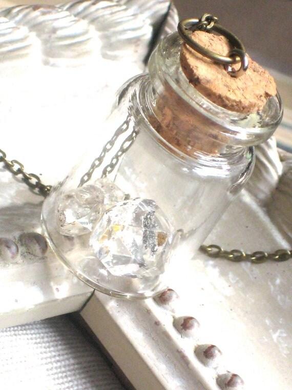 Herkimer Diamonds In a Glass Bottle Necklace, Crystal, Specimen, Curiosity Bottle, Long Chain, Antique Brass Gold, Natural