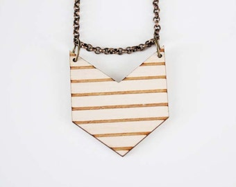 Wooden Chevron Stripe Necklace - No. 3