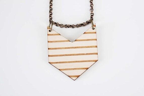 Wooden Chevron Stripe Necklace - No. 3