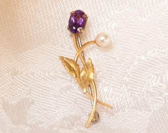 Tiny Delicate Amethyst and Pearl Pin