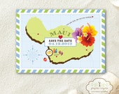 Destination Wedding Save the Date Postcard: Fly with Us to Maui / self-mailer, hibiscus, earth-friendly, tropical theme / set of 35