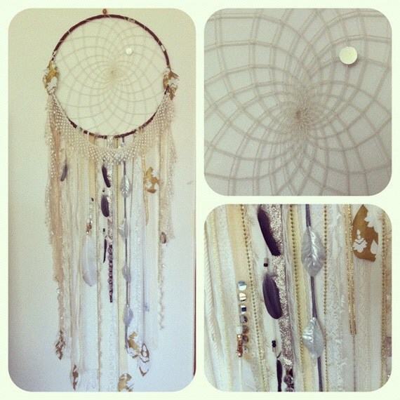 Huge Shimmering White & Gold DREAMCATCHER, crystals, vintage trims FREE SHIPPING