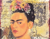 Frida Kahlo - original mixed media / collage ACEO