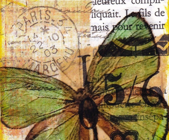 Green butterfly - original Mixed Media ACEO