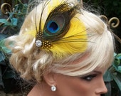 Headband Bright Yellow and Peacock Feather Bridal Wedding Hair Clip Fascinator, yellow, green, turquoise, blue
